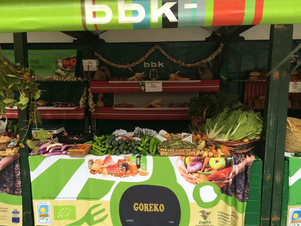 Puesto patrocinado por la BBK en la Feria ecológica de Getxo